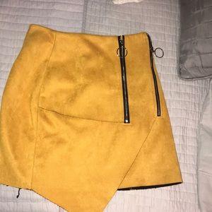 Yellow asymmetrical skirt